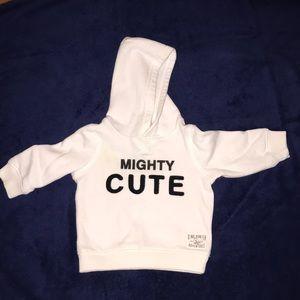 "White ""Mighty Cute"" Hoodie😍"